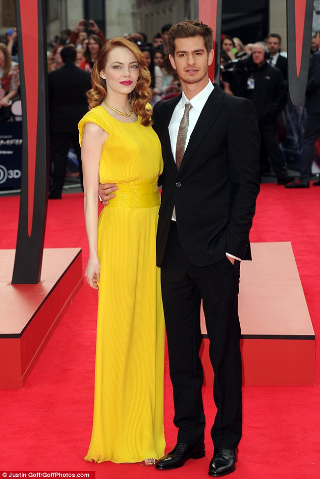 Bright things: Emma Stone and Andrew Garfield pose together at the premiere of The Amazing Spiderman 2 in London on Thursday night