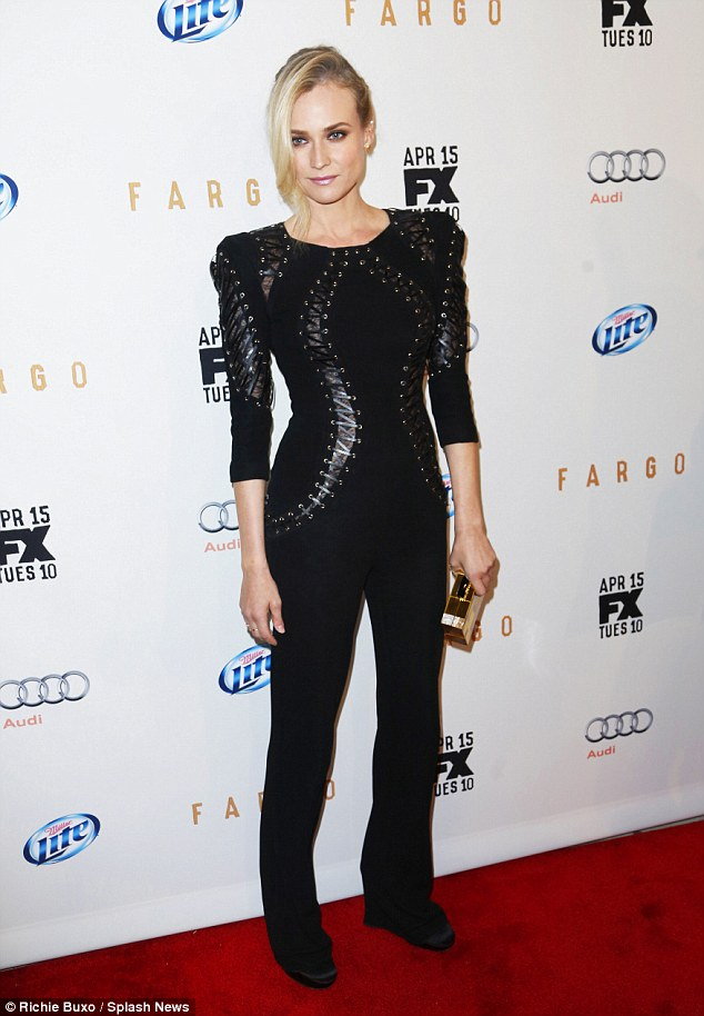 Gone goth: Diane Kruger wore an edgy black lace-up top to the premiere of Fargo in New York on Wednesday