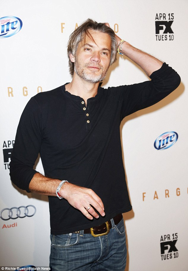 Justified: Timothy Olyphant, 45, was casually dressed in a black T-shirt and jeans