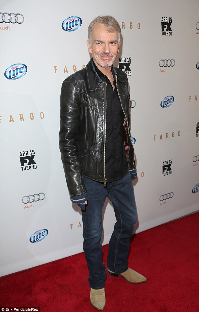 Young at heart: Billy Bob Thornton, 58, was decked out in a leather jacket and jeans