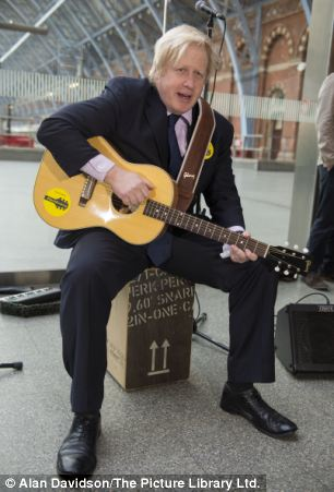 Launch of #BackBusking campaign and Gigs busking competition at St Pancras International Mayor of London Boris Johnson Joins  group mod Busters at St Pancras International to launch the campain