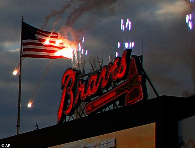 The Atlanta Braves accidentally set their flag on fire a when it was set too close to the pyrotechnic display
