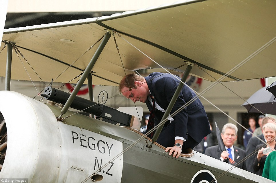 The easy part: Getting into the plane was relatively easy compared with when the Duke had to dismount, dodging wires which criss-crossed between the wings, causing him to say, 'Oh dear, there's no dignified way of doing this, is there?'. Even so, the dismount went relatively smoothly