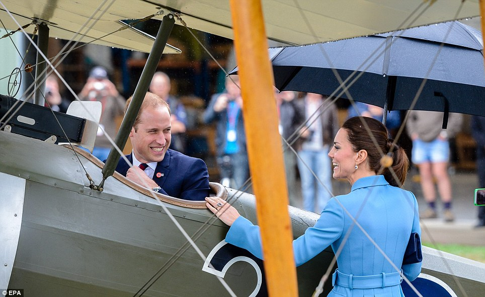 Want to take a spin: After climbing into the cockpit, Prince William said, 'It's perfect. Start her up!' Kate didn't take him up on his offer
