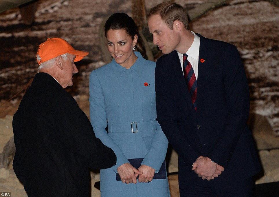 The Duke and Duchess spoke to World War Two fighter pilot Harcourt Bunt as they viewed an interior exhibition