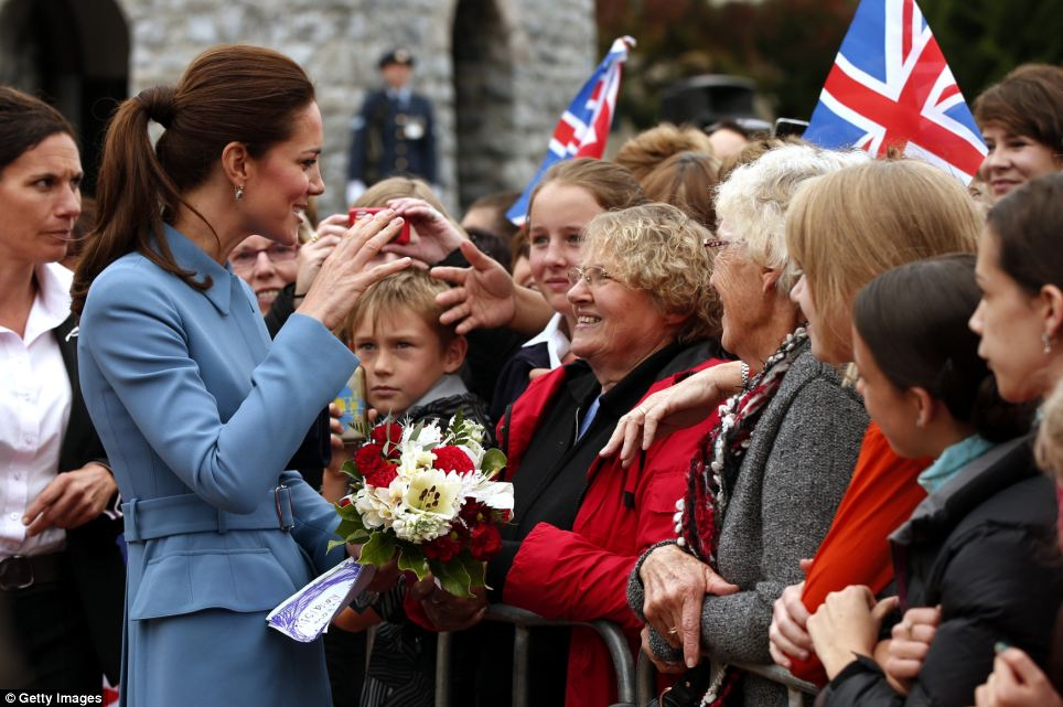 Legions of fans: The Duchess was all too happy to stop and speak with members of the public during the ceremony