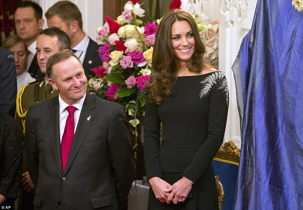 The Duchess, pictured with New Zealand Prime Minister John Key, looked refreshed as she attended the dinner, which fell on the fourth day of the royal tour