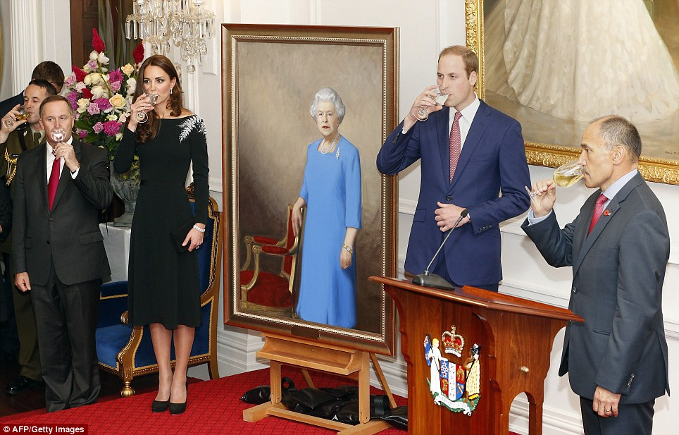 To the queen! John Key (left) and Governor-General Jerry Mateparae (right) joined the Duke and Duchess in a toast after the portrait was unveiled