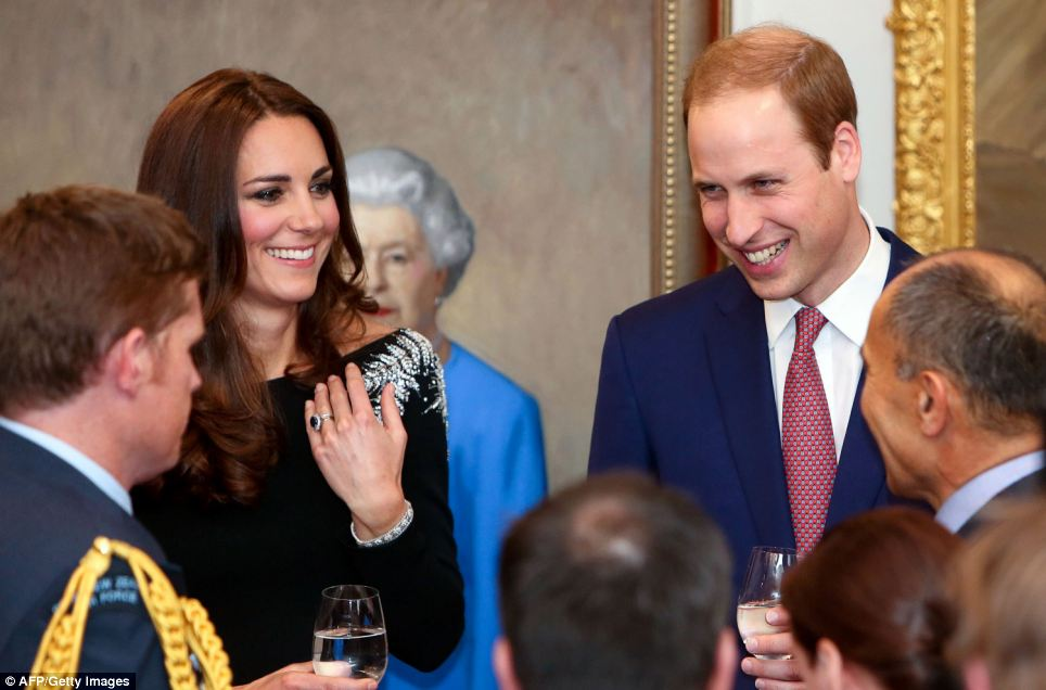William and Kate share a joke with guests during the state reception at Government House in Wellington