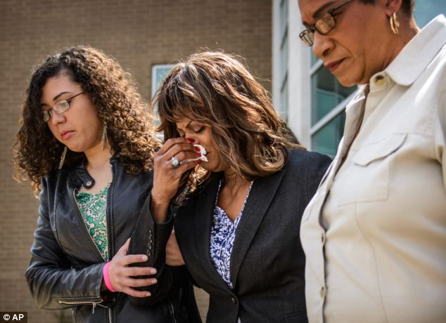 Heartbroken: Darlene Heegel, center, Danielle's grandmother, leaves the Cumberland County Detention Center on Wednesday after seeing the teenagers accused of killing her granddaughter