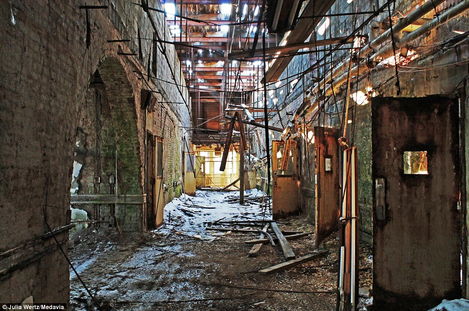 Left to rot: Once reputedly the largest building in America, Greystone Park Psychiatric Hospital in New Jersey had more than 7,000 patients during its peak in the 1950s