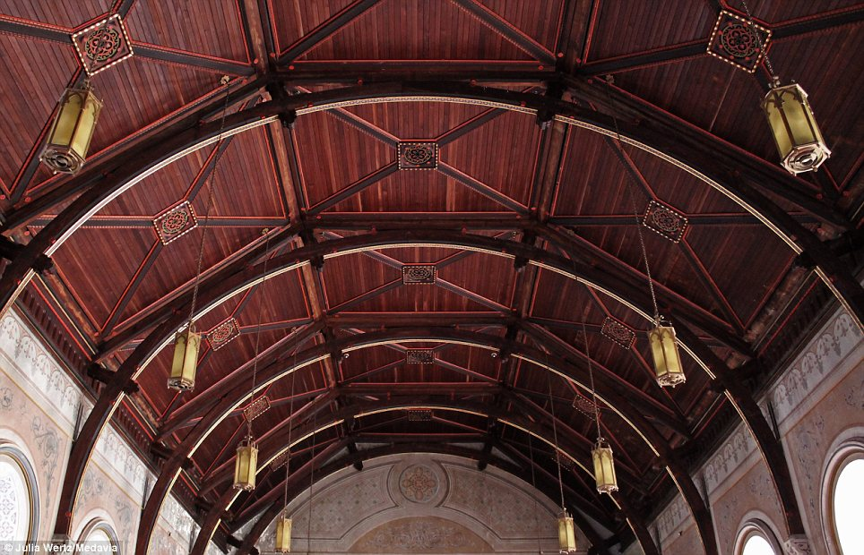 Magnificent: The vaulted ceiling of the chapel, which will soon be demolished in a project expected to cost $50million. The site was so large it had its own power station