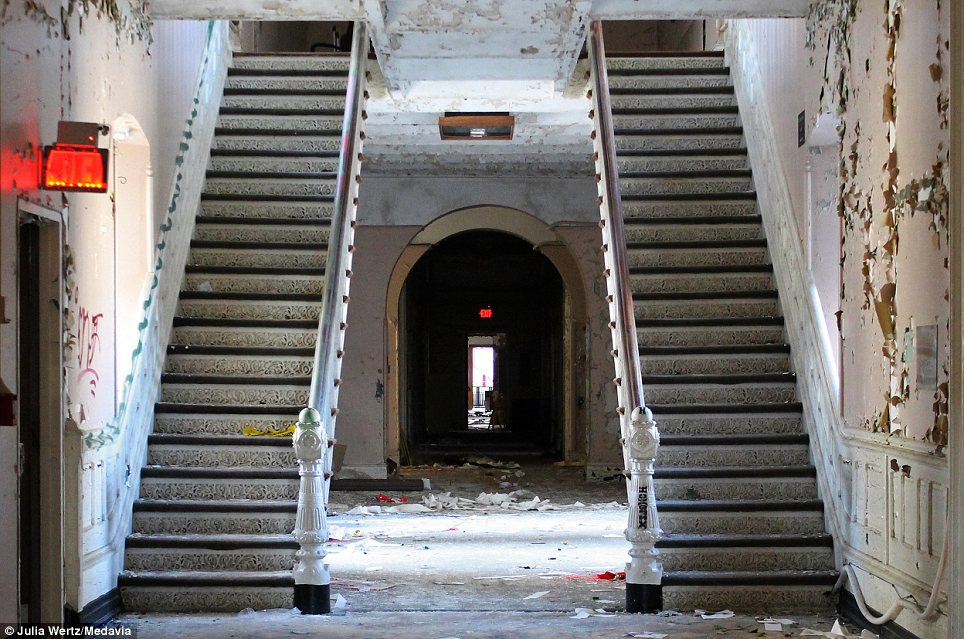 Grand: Twin staircases inside the huge complex, which expanded throughout the first half of the 20th Century as soldiers returned from the Second World War
