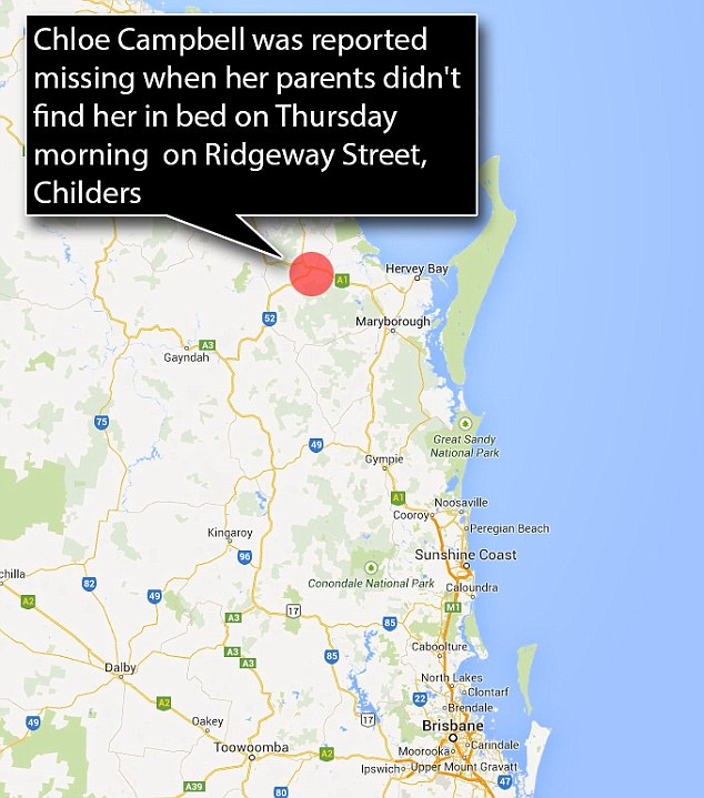 Childers, where Chloe went missing from, is located in souther Queensland, about 325 kilometres from the capital Brisbane
