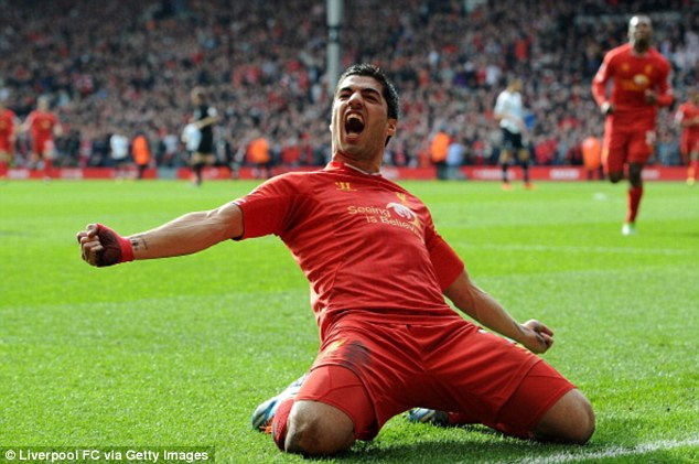 Something to celebrate: Suarez has been in fine form this season, scoring 29 goals