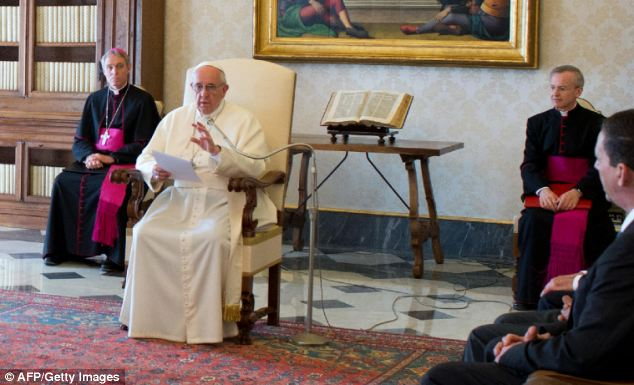 Pope Francis speaking with members of the Delegation of the International Catholic Child Bureau (BICE) during an audience today