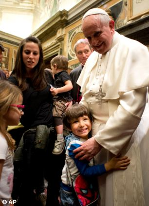 Pope Francis, pictured during a meeting with the Italian pro-life movement, at the Vatican today, has said he takes personal responsibility for the 'evil' of priests who sexually abused children