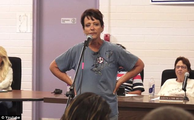Speaking out: Margaret Houston, Cliven Bundy's sister, told how she was tackled by officers when she was protesting (seen here at a Wednesday town hall meeting)