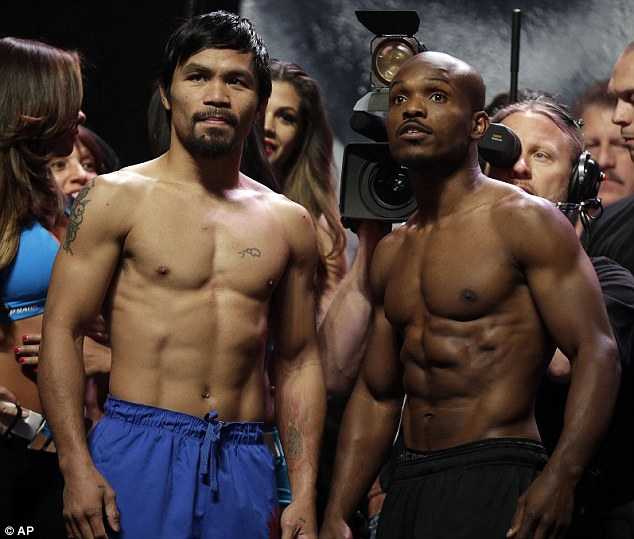 Pound-for-pound: Manny Pacquiao (left) and Timothy Bradley pose for photos following the weigh-in