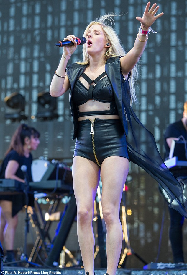 Lady in leather: Ellie Goulding takes to the stage at Coachella in a bold black leather ensemble on Friday