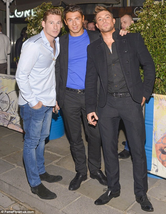 Started so well: Lee started his night with bandmate Duncan James and their trainer friend Scott Ashley at Core bar