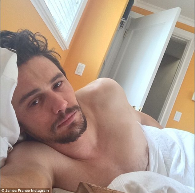 Bedroom eyes: James Franco shared some shirtless photos from bed on Instagram on Friday