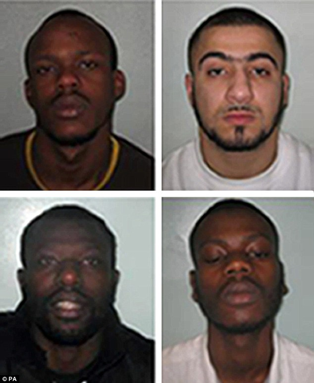 Blaize Lunkula (top left), Yusuf Arslan (top right), Ndombasi Makusu (bottom left) and Christian Barabutu (bottom right) have been jailed for the murder of innocent victim Cem Duzgan, in an execution-style killing as part of a gang feud, police said