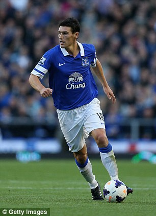 On the ball: Gareth Barry has featured in 27 games for Everton since joining them on-loan from Manchester City