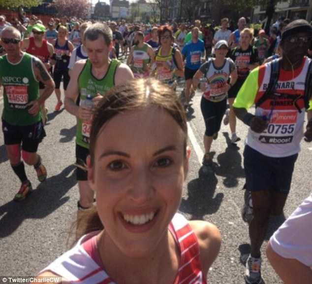 In the mix: The presenter also took to Twitter to take her very own London Marathon 'selfie'