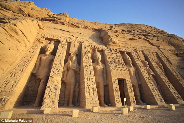 Magnificent: The colossal statues at Abu Simbel were built to intimidate invaders in the 12th Century BC