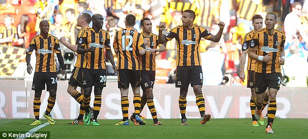 Together: The Hull players celebrate on their way to securing their place in the final