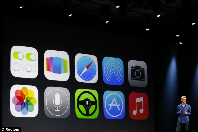 Apple's 'flat' Apple iOS 7 features are displayed on screen during Apple Worldwide Developers Conference (WWDC) 2013 in San Francisco