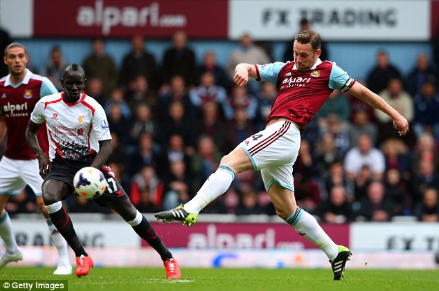 In doubt: West Ham captain Kevin Nolan will be given a late fitness test ahead of his side's Arsenal visit
