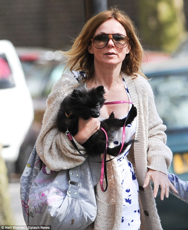 It's a dog's life: Geri Halliwell is seen enjoying some time in half term with her daughter and pet
