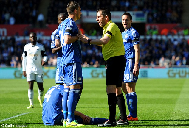 Influential: John Terry says he advised referee Phil Dowd to send off Swansea's Chico Flores