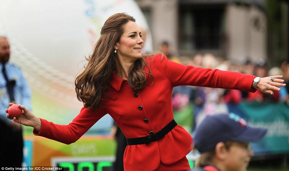 She's got good aim: As well as batting, the Duchess threw several cricket balls throughout the match