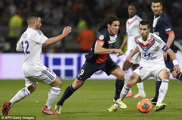 Frustrated: Edinson Cavani failed to find a breakthrough against Lyon