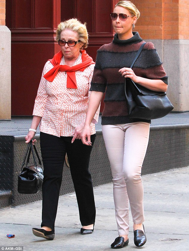 Strolling along: Katherine Heigl and her mother Nancy walked to a restaurant in the Tribeca neighbourhood of New York for a girlie lunch on Sunday