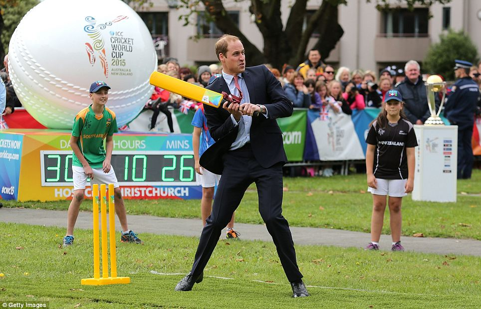 Putting on a show: A rather large crowd came out to watch the couple play cricket