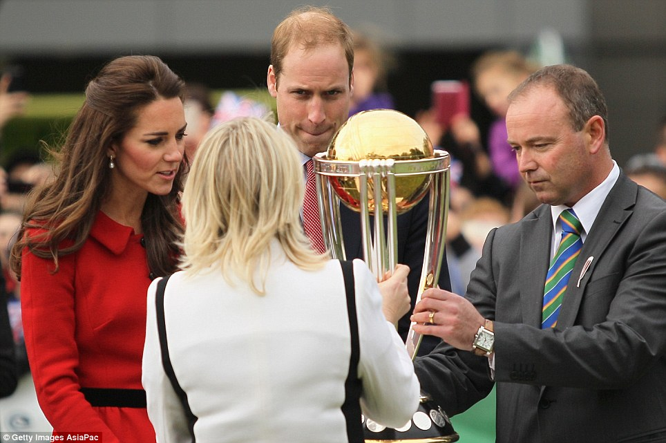 Therese Walsh, Head of New Zealand ICC Cricket World Cup 2015, and Lee Germon, CEO of Canterbury Cricket, presented the Royal couple with the  ICC Cricket World Cup Trophy for a hold at the Hagley Oval