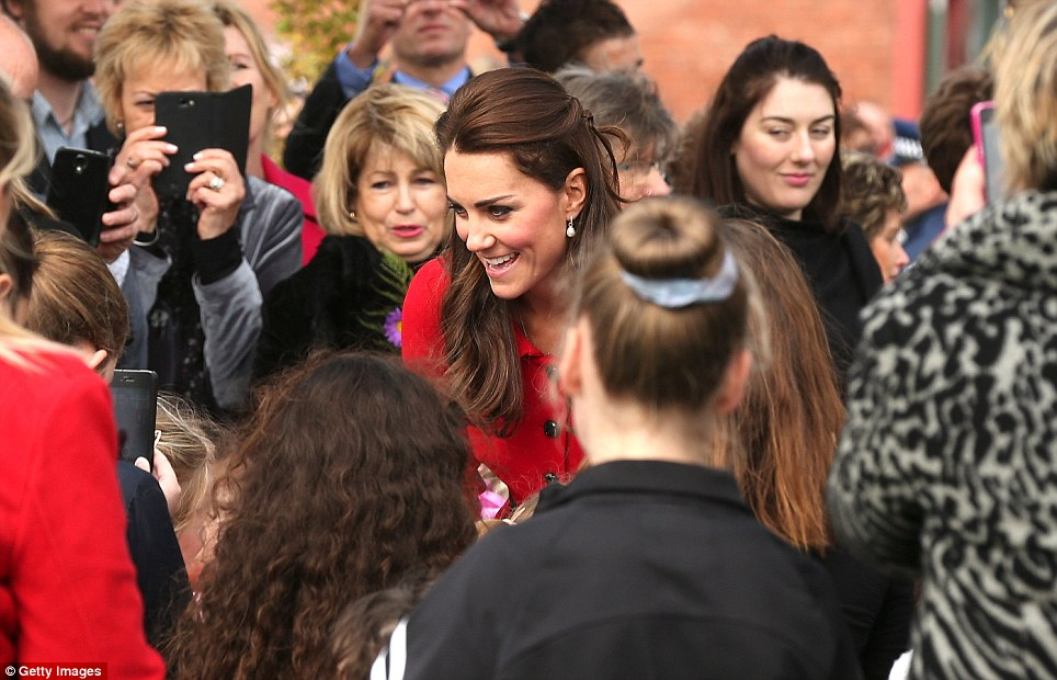 Kate was surrounded by fans of the Royals, who were eager to greet and get a photo of her