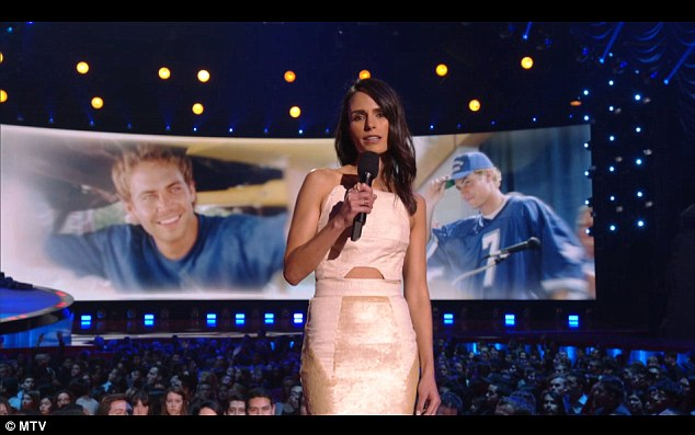 'He was so, so special': On Sunday's MTV Movie Awards, Jordana paid tribute to her onscreen love interest Paul Walker, who tragically perished in a car crash last November