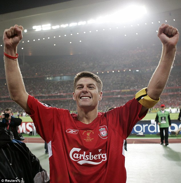 Remember this? Gerrard's celebrations after the City win were reminiscent of those after Liverpool won the 2005 Champions League in dramatic circumstances against AC Milan in Istanbul