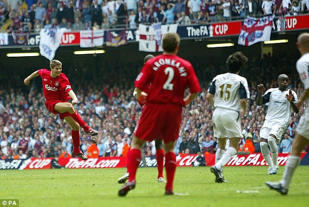 Boy's own stuff: Gerrard fired home from range in the last minute of the 2006 FA Cup final to salvage a 3-3 draw with West Ham. Liverpool went on to win the Cup on penalties