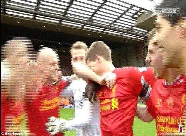 Pure emotion: Gerrard wiped away the tears before delivering a stirring post-match team talk to his players