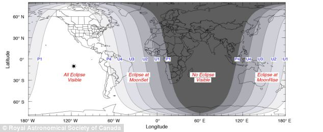 No show: The total eclipse is visible over most of North America, but not in most of Europe, Africa and Asia, as explained by this map