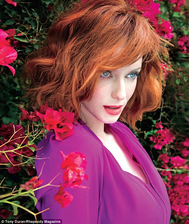 Colorful beauty: The 38-year-old actress looks stunning in the new issue of United Airlines' Rhapsody magazine, her signature hair styled in loose waves around her face