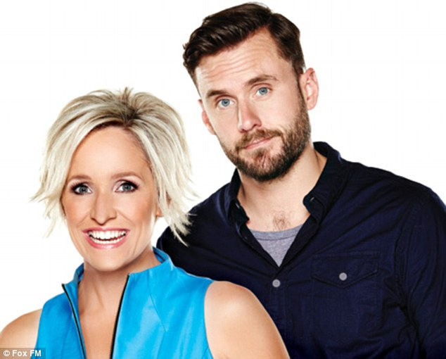 On-air war: Fox FM breakfast host Fifi Box, pictured with co-host Dave Thornton, has hit back at 3AW presenter Tom Elliott after he called for her to 'hang her head in shame' as she imitated a limp following parking in a disabled spot