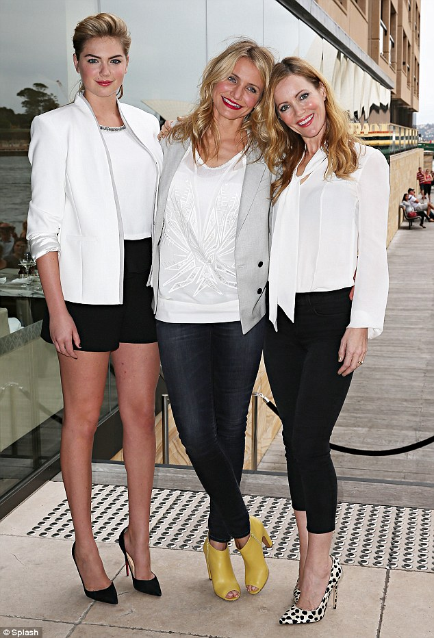 On the move: Kate Upton, Cameron Diaz and Leslie Mann attended an Other Woman photocall in Sydney just hours after arriving Down Under on Tuesday