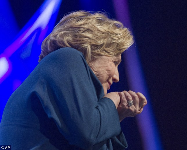 Clinton, who was not hit by the object,  responded to the misfire by joking about the incident